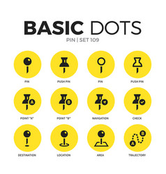 pin flat icons set vector image