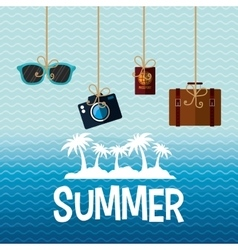 Poster summer island palm suitcase camera vector