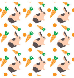 rabbit with carrot seamless pattern abstract vector image