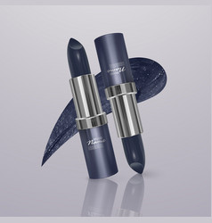 Realistic lipstick of dark blue color with stroke vector
