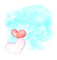 red and pink heart shape on blue background vector image