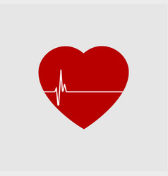 Red heart with white heartbeat line icon vector