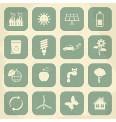 Retro ecology icon set vector image