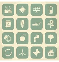 Retro ecology icon set vector