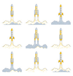 Rockets launch into undiscovered space explore vector