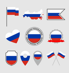 russia flag icons set russian federation national vector image