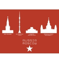 Russia Moscow city shape silhouette icon set -Red vector image