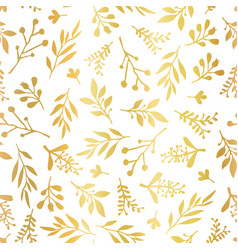 seamless background gold foil leaves vector image