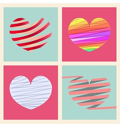 Set four heart style vector image