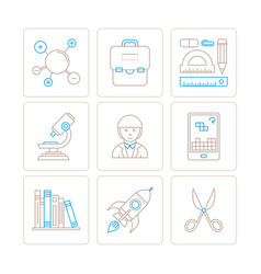 set of education icons and concepts in mono thin vector image