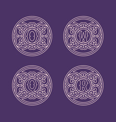 set of monograms vector image