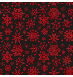 Snowflakes on black and red background seamless te vector image