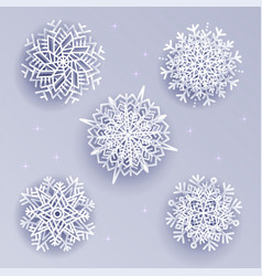 snowflakes set in volume 3d style on white silver vector image