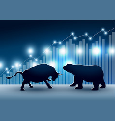 stock market design of bull and bear vector image