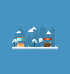 street stall with snow landscape vector image