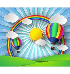 Sunlight on cloud with hot air balloon vector