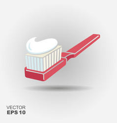 toothbrush with toothpaste icon vector image