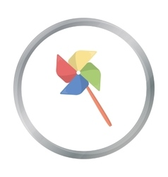 Toy windmill cartoon icon for web vector
