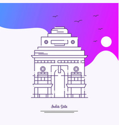 Travel india gate poster template purple creative vector