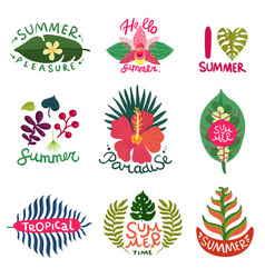 tropical plants emblems set vector image