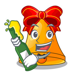 with beer golden christmas bell isolated on mascot vector image
