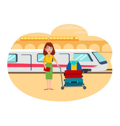 Woman with lot of baggage at railway station vector