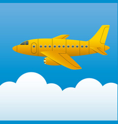 Yellow plane on a background of blue sky and white vector