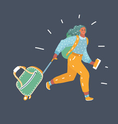 Young woman running with a suitcase vector