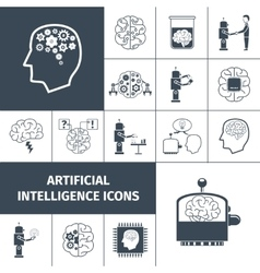 Artificial intelligence icons black vector