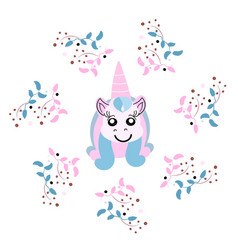 beautiful unicorn head with floral frame magic vector image
