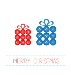 Blue red gift boxes made from buttons Christmas vector image