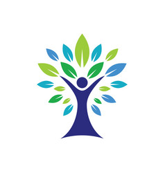 eco tree people logo image vector image vector image