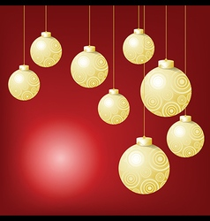 Gold ball hanging on red background in Christmas vector image