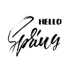 handwritten lettering inscription hello spring vector image