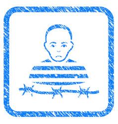 Isolated prisoner framed stamp vector