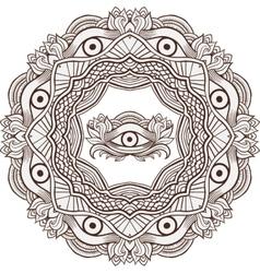 Mandala henna mehendi with the eye of providence vector image vector image