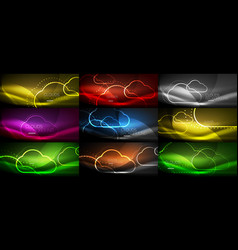 set of neon cloud computing backgrounds vector image vector image