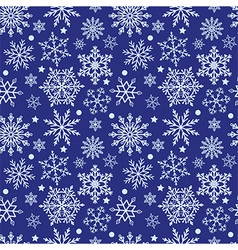 Snowflakes on blue background seamless texture vector image vector image