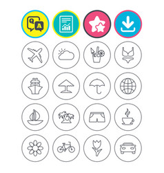 travel icons ship plane and car transport vector image