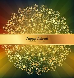 Beautiful diwali greeting floral ornaments vector