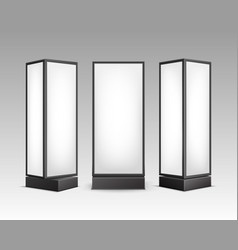 black white luminous stands pillars front vector image vector image