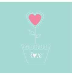 Heart flower in pot Pink and blue love card Flat d vector image vector image