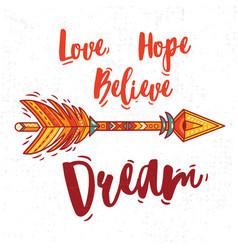 Motivational card with tribal ethnic arrow vector
