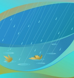rain and leaves background vector image vector image