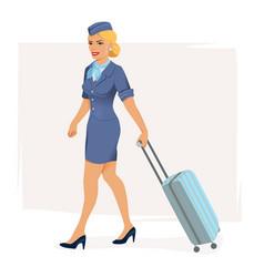 smiling stewardess vector image