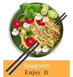 Spaghetti plate realistic healthy gourmet vector
