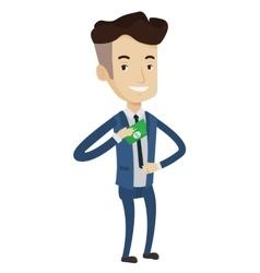 Businessman putting money bribe in pocket vector