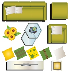 Living room furniture top view set 9 for interior vector image vector image