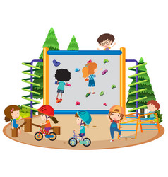 many children riding bike and climbing wall in vector image