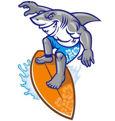 shark surfer vector image vector image